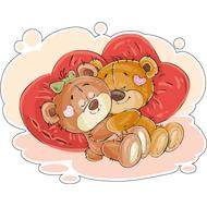 Наклейка Мишка Тедди с подружкой на подушках, фото 1