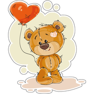 Наклейка Мишка Тедди с шариком, фото 1