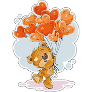 Наклейка Мишка Тедди с надувными шарами, фото 1