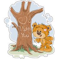 Наклейка Мишка Тедди и дерево, фото 1
