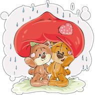 Наклейка Мишка Тедди с подружкой прячутся от дождика, фото 1
