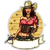 Наклейка Девушка ковбой с пистолетами, фото 1