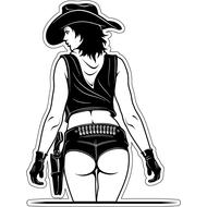 Наклейка Девушка ковбой вид сзади, фото 1