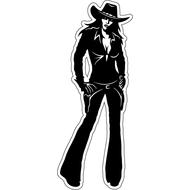 Наклейка Девушка ковбой в темных джинсах, фото 1