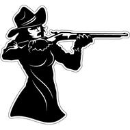 Наклейка Девушка ковбой целится перед выстрелом, фото 1