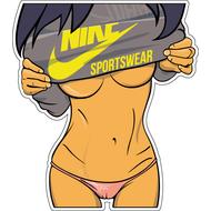 Наклейка Девушка в толстовке Nike, фото 1