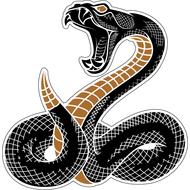 Наклейка Гремучая змея предупреждает жертву, фото 1