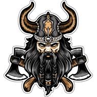 Наклейка Викинг с черной бородой, фото 1