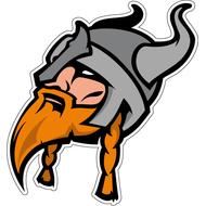 Наклейка Викинг с рыжей бородой в железном шлеме, фото 1
