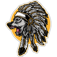 Наклейка Волк индеец, фото 1