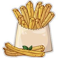Наклейка Картошка фри в белой коробке, фото 1