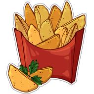 Наклейка Картофель по деревенски в красной коробке, фото 1