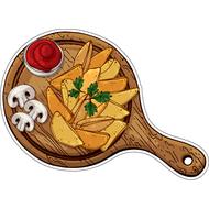 Наклейка Картофель по деревенски с грибочками и кетчупом, фото 1