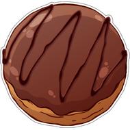 Наклейка Пончик с начинкой в шоколадной глазури, фото 1