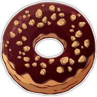 Наклейка Пончик в шоколадной глазури с орешками, фото 1