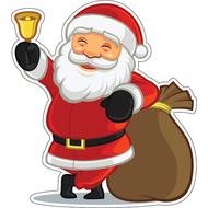 Наклейка Санта с мешком и колокольчиком, фото 1