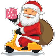 Наклейка Санта с мешком на мопеде, фото 1