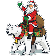Наклейка Санта на белом медведе, фото 1