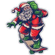 Наклейка Санта с мешком на скейте, фото 1