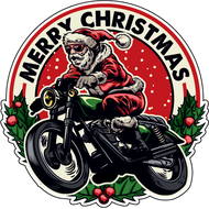 Наклейка Санта на мотоцикле, фото 1