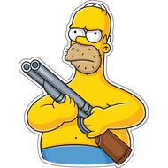 Наклейка Гомер Симпсон с ружьем, фото 1