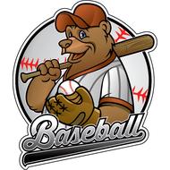 Наклейка Медведь бейсболист, фото 1