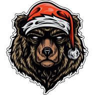 Наклейка Медведь в новогодней шапке, фото 1