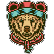 Наклейка Медведь в шапке и шарфе, фото 1