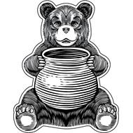 Наклейка Медвежонок с горшочком меда, фото 1