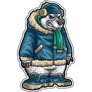 Наклейка Медведь в куртке, фото 1
