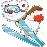 Наклейка Медвежонок на лыжах, фото 1