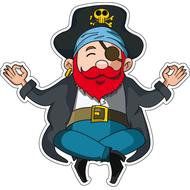 Наклейка Пират в позе лотоса, фото 1
