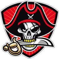 Наклейка Череп пирата с клинком в зубах, фото 1