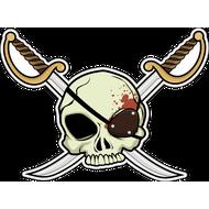 Наклейка Череп пирата на фоне клинков, фото 1