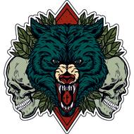 Наклейка Волк с черепами, фото 1