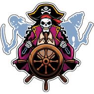 Наклейка Пират за штурвалом, фото 1