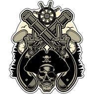 Наклейка Два ствола, штурвал и череп, фото 1