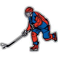 Наклейка Хоккеист в красно-синей форме, фото 1