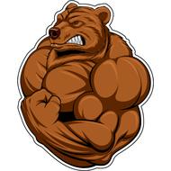 Наклейка Медведь бодибилдер, фото 1