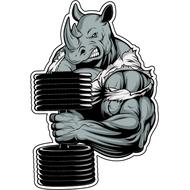 Наклейка Носорог с гантелей, фото 1