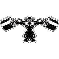 Наклейка Бодибилдер со штангой, фото 1