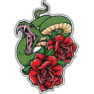 Наклейка Зеленый змей и розы, фото 1