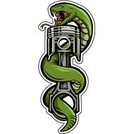 Наклейка Зеленый змей и поршень-064, фото 1