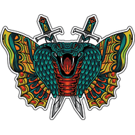 Наклейка Кобра и бабочка-080, фото 1