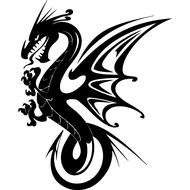 Наклейка Дракон с крыльями-081, фото 1