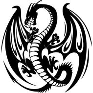 Наклейка Дракон с крыльями-082, фото 1