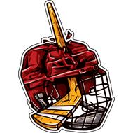 Наклейка Пробитый хоккейной клюшкой шлем, фото 1