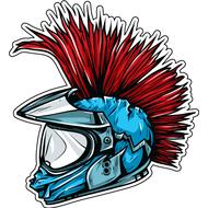 Наклейка Шлем с ирокезом, фото 1