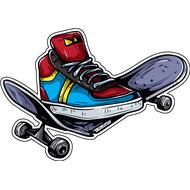 Наклейка Сломанный скейтборд, фото 1