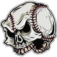 Наклейка Череп бейсбольный мяч, фото 1
